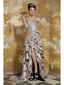 Champagne Column Sweetheart Brush Train Taffeta and Sequin Beading Prom Dress