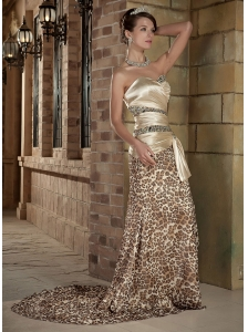 Champagne Column Sweetheart Court Train Prom Dress Elastic Wove Satin and Leopard Chiffon Ruch