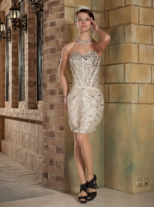 Champagne Column Sweetheart Mini-length Sequin Rhinestones Prom Dress