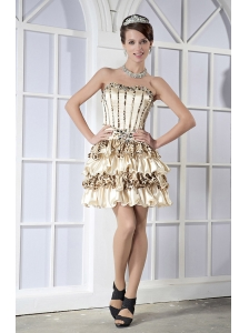 Champagne Empire Strapless Mini-length Elastic Woven Satin and Leopard Beading Prom Dress