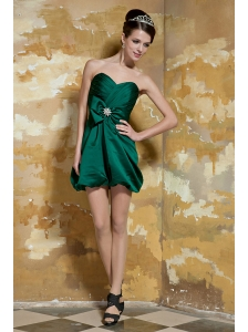 Dark Green Column Sweetheart Mini-length Taffeta Beading and Ruch Prom Dress