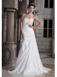 Elegant A-line / Princess Sweetheart Court Train Taffeta Beading Wedding Dress