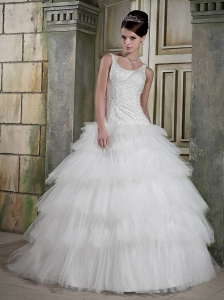Elegant A-line Scoop Neck Floor-length Satin and Tulle Beading Wedding Dress