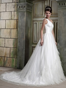 Elegant A-Line / Princess One Shoulder Court Train Satin / Tulle Ruch Wedding Dress