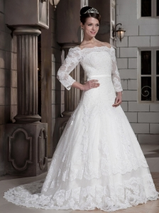 Exclusive A-line / Princess Off The Shoulder Court Train Satin and Point Nets Bud Silk Appliques Wedding Dress