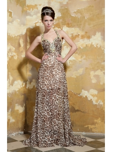 Exclusive Halter V-neck Floor-length Leopard Beading Prom Dress