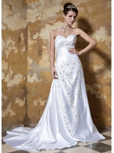 Formal Column / Sheath Sweetheart Court Train Elastic Woven Satin Appliques Wedding Dress
