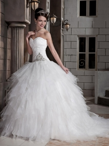 Gorgeous Ball Gown Sweetheart Court Train Tulle and Satin Ruffles Wedding Dress