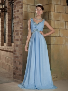 Light Blue Empire V-neck Brush Train Chiffon Beading Prom / Evening Dress