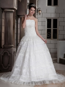 Luxurious Ball Gown Strapless Court Train Satin and Organza Voile Lace Wedding Dress