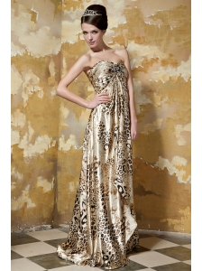 Luxurious Empire Sweetheart Brush Train Leopard Printing Ruch Prom / Celebrity Dress