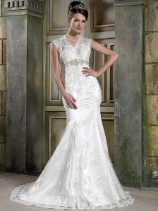 Customize Mermaid / Trumpet V-neck Court Train Elastic Wove Satin and Lace Beading and Appliques Wedding Dress
