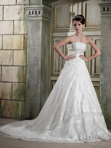 Romantic A-line Strapless Chapel Train Tulle Appliques Wedding Dress