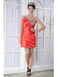 Orange Red Column / Sheath Sweetheart Mini-length Elastic Woven Satin Beading Prom Dress