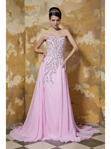 Pink Column / Sheath Sweetheart Brush Train Chiffon Beading Prom / Evening Dress