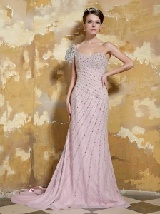 Baby Pink Column One Shoulder Court Train Chiffon Beading Prom / Evening Dress