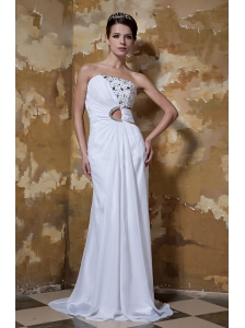Popular Sheath / Column Strapless Floor-length Elastic Woven Satin and Chiffon Beading Prom Dress