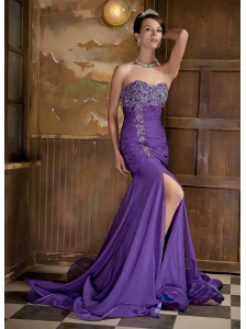 Purple Column Sweetheart Brush Train Elastic Woven Satin and Chiffon Beading Prom Dress