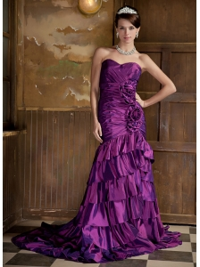 Purple Column Sweetheart Brush Train Taffeta Hand Made Flowers Prom Dress