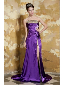Purple Empire Strapless Brush Train Elastic Woven Satin and Leopard Beading Prom Dress
