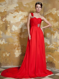 Red Empire One Shoulder Watteau Train Elastic Woven Satin and Chiffon Beading Prom / Evening Dress