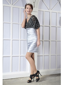 Silver and Black Column V-neck Mini-length Sequin and Elastic Woven Satin Pleat Prom Dress