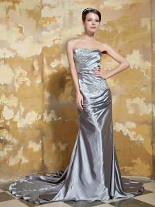 Grey Column Strapless Court Train Elastic Woven Satin Beaing and Ruch Prom / Evening Dress