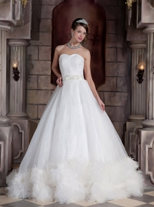Exclusive A-line / Princess Sweetheart Court Train Satin and Feather Beading Wedding Dress