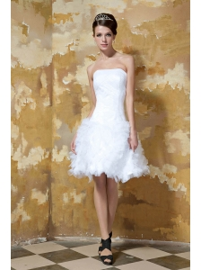 Beautiful A-line / Princess Strapless Knee-length Satin and Tulle Wedding Dress