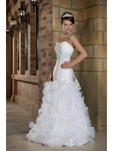 Formal A-Line / Princess Sweetheart Floor-length Satin and Organza Beading Wedding Dress