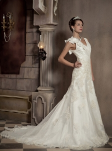 Pretty A-line / Princess V-neck Court Train Taffeta and Organza Embroidery Wedding Dress
