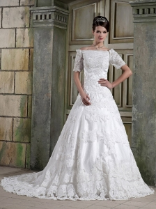 Popular A-Line / Princess Off The Shoulder Court Train Satin and Tulle Appliques Wedding Dress