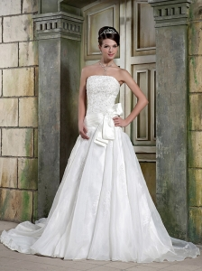 Fashionable A-Line / Princess Strapless Court Train Satin and Organza Appliques Wedding Dress