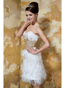White  Column / Sheath Sweetheart Knee-length Satin and  Feather Beading Prom / Evening Dress