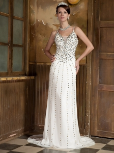White Column Straps Brush Train Chiffon Rhinestones Prom Dress