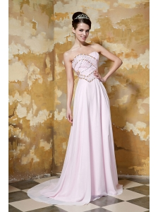Baby Pink Empire Sweetheart Brush Train Chiffon and Elastic Woven Satin Beading Prom / Celebrity Dress