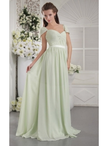 Apple Green Empire Off The Shoulder Brush Train Chiffon Ruch Bridesmaid Dress