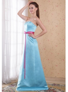 Light Blue Empire Strapless Brush Train Satin Sash Bridesmaid Dress