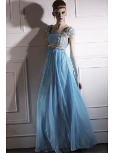 Aqua Blue Empire Square Floor-length Chiffon Beading Prom Dress