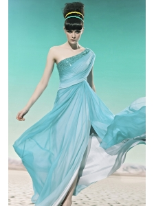 Baby Blue Empire One Shoulder Floor-length Chiffon Sequins and Beading Prom Dress