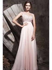 Baby Pink Empire Bateau Floor-length Chiffon Beading and Ruch Prom / Celebrity Dress