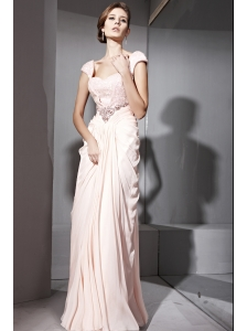Baby Pink Empire Off The Shoulder Floor-length Chiffon Beading and Ruch Prom / Celebrity Dress