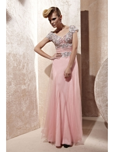 Baby Pink Empire Off The Shoulder Floor-length Tulle Appliques Prom / Celebrity Dress