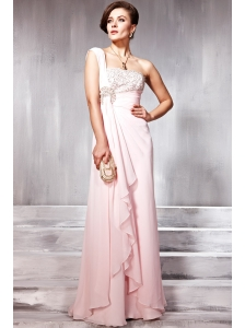 Baby Pink Empire One Shoulder Floor-length Chiffon Beading Prom / Evening Dress