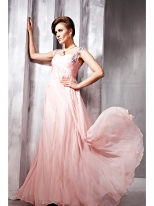 Baby Pink Empire Straps Floor-length Chiffon Beading Prom / Evening Dress