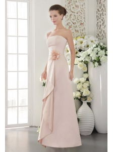 Beautiful Column / Sheath Strapless Floor-length Satin Hand Made Flower BabyPink Bridesmaid Dress
