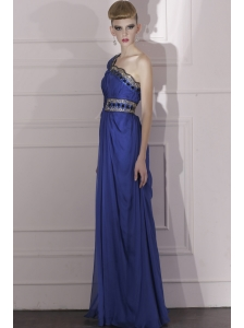Royal Blue Empire One Shoulder Floor-length Chiffon Beading and Ruch Prom / Celebrity Dress