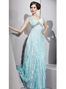 Baby Blue Empire V-neck Floor-length Chiffon Rhinestones Prom Dress