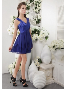 Navy Blue Empire V-neck Short Chiffon Ruch Bridesmaid Dress