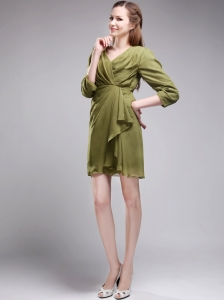 Brand New Column / Sheath V-neck Mini-length Chiffon Olive Green Mother of the Bride Dress